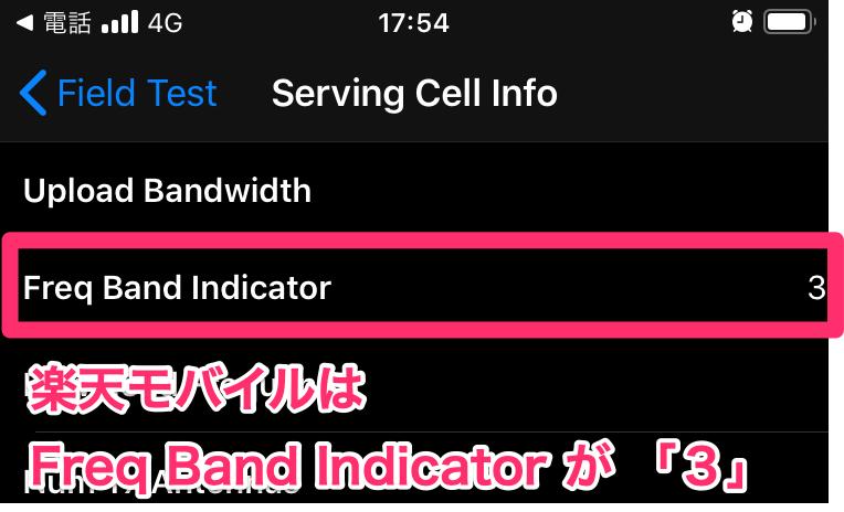 楽天モバイルFreq Band Indicatorが3